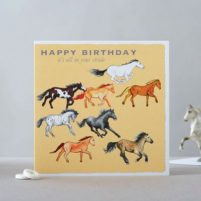 Happy Birthday Card - Horses - In your stride
