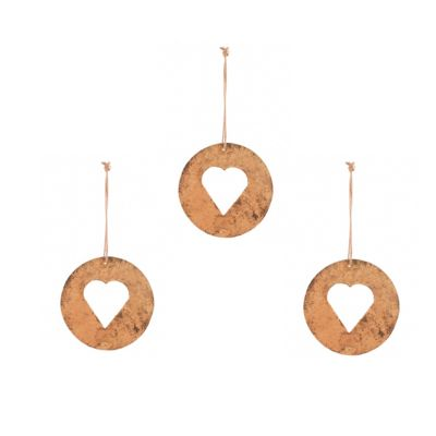 Heart - Distressed Look Gold Iron Disc Christmas Tree Decoration x 3