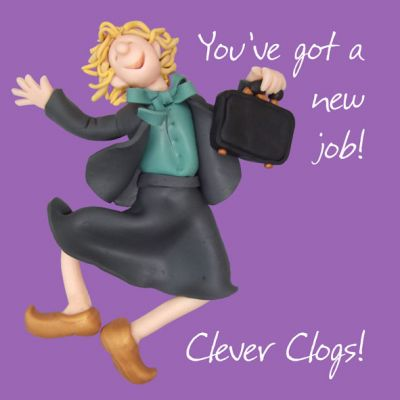 New Job Card - Good Luck Clever Clogs Funny One Lump Or Two