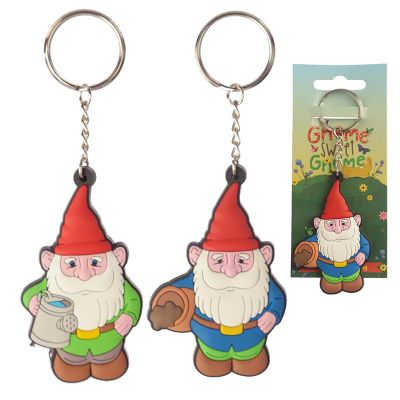 Gnome Sweet Gnome Novelty PVC Keyring - Blue & Green