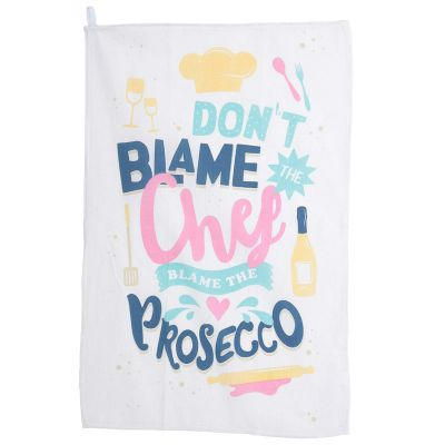 Prosecco Slogan Novelty Tea Towel - Poly Cotton