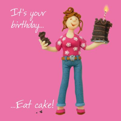 Birthday Card - Female Funny Humour Eat Cake! One Lump Or Two