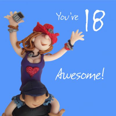 18th Female Birthday Card - Awesome One Lump Or Two
