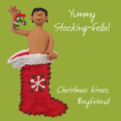 Christmas Card - Boyfriend Yummy Stocking-fella - Funny Humour One Lump Or Two