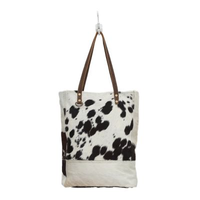 Impression Black & White Cowhide Tote Shopper Handbag