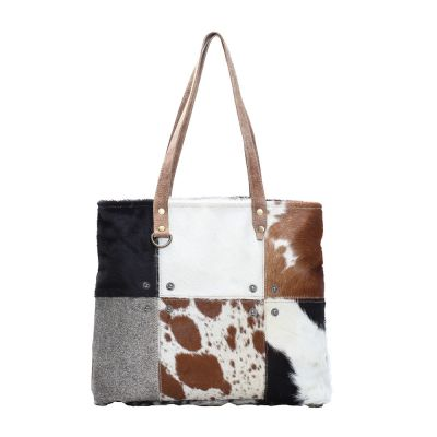 Mutli Patch Cowhide Tote Shopper Handbag