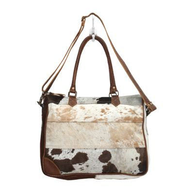 Cowhide & Leather Brown, Black, White Laptop Office Bag