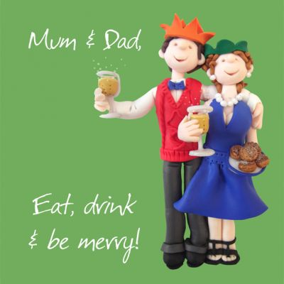 Christmas Card - Mum & Dad - Funny Humour One Lump Or Two