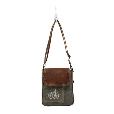 Bicycle Print Canvas & Leather Shoulder Bag