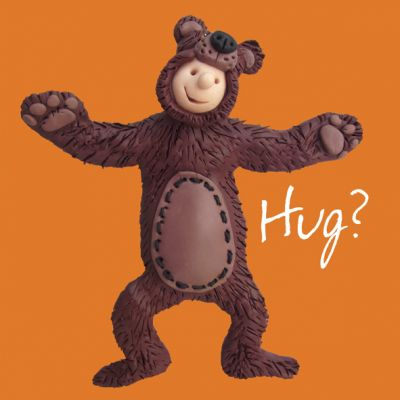Open Card - Funny Humour Bear Hug! One Lump Or Two