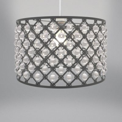Lampshade - Large Dark Grey Metal & Droplets Bijou 37cm
