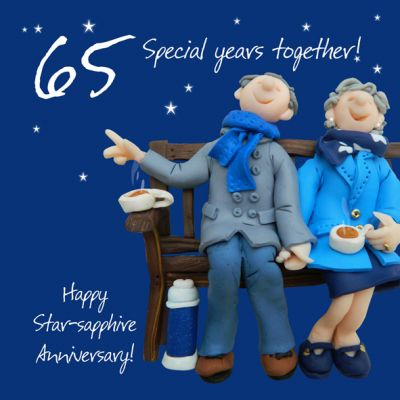 Wedding Anniversary Card - 65th Sixty Fifth 65 Years Sapphire One Lump Or Two