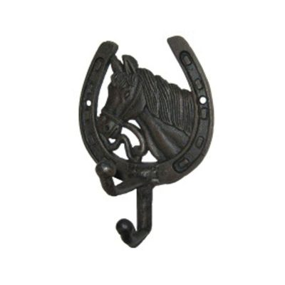 Cast Iron Horse Horseshoe Coat Hook - Bridle Tack Room