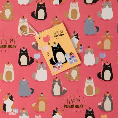 Feline Fine Cat Metallic Gift Wrapping Paper Sheet & Tag