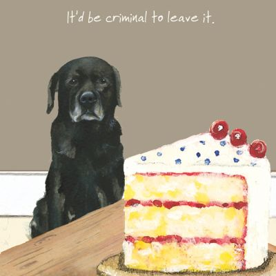 Greetings Card - Black Labrador - Criminal Cake - The Little Dog