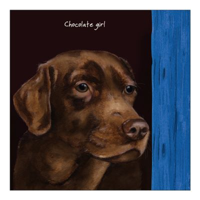 Greetings Card - Chocolate Labrador - Girl - The Little Dog