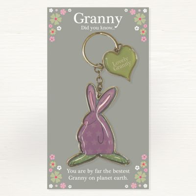 Lovely Granny Metal Keyring - Did you Know... - Ruffus Rabbit