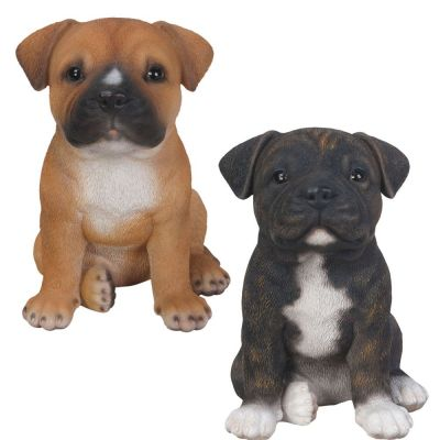 Staffordshire Bull Terrier Puppy Dog - Lifelike Ornament Gift - Indoor Outdoor - Pet Pals