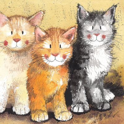 Greetings Card - Rodger Dodger & Tinkerbell Cats - Alex Clark