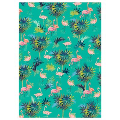 Flamingo Green Luxury Gift Wrap Sheet - Sara Miller