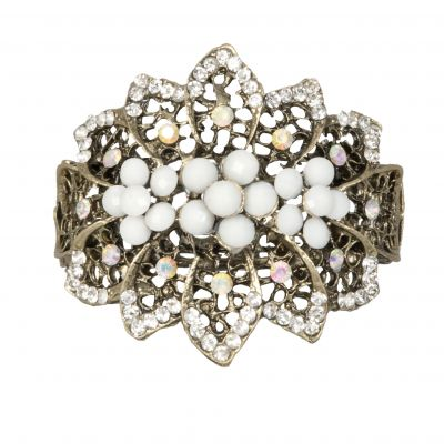 Flower White & Faux Diamante Stylish Bracelet