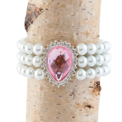 Pink with Faux Pearl Stylish Bracelet