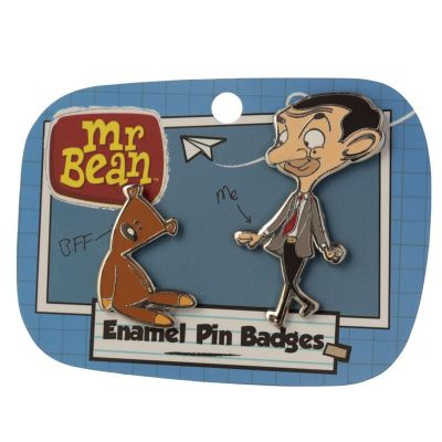 Mr Bean & Teddy Enamel Pin Badge Set