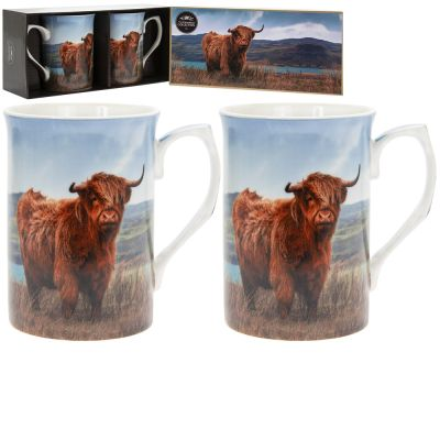 Highland Cow Leonardo Collection Fine China Mug Gift Set