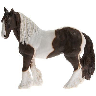 Coloured Gypsy Cob Horse Pony Skewbald Brown & White - Lifelike Ornament Gift - Country Life