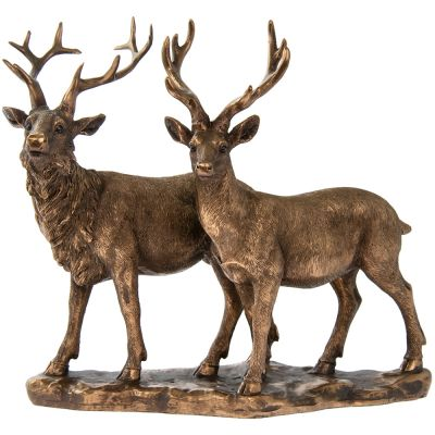 Stag & Deer - Bronzed Lifelike Ornament Gift - Reflections Leonardo Collection