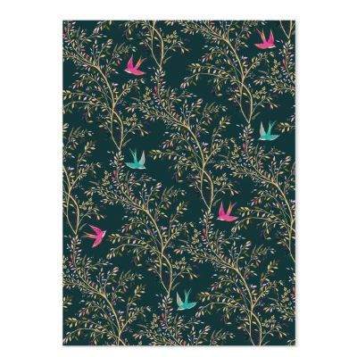 Birds Hummingbird Dark Green Luxury Gift Wrap Sheet - Sara Miller