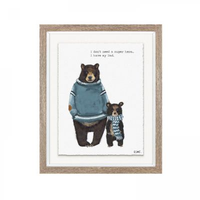 Super Hero Dad Bear - Wall Art Print Framed - Esme Lintin