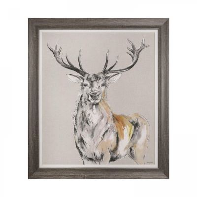 Standing Proud Stag - Wall Art Framed Canvas - 79cm x 84cm - Gracie Tapner