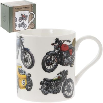 Classic Motorbike Motive White Fine China Mug - Boxed - Set of 6