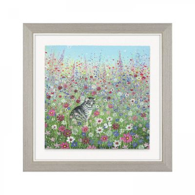 Cottage Garden - Cat - Wall Art Print Framed - Lucy Grossmith