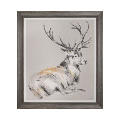 Looking On Stag - Wall Art Framed Canvas - 84cm x 79cm - Gracie Tapner
