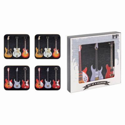 Electric Guitar Coasters Rock & Roll - Set of 4