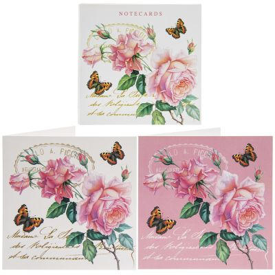 Note Card - 10 x Notelets - Redoute Rose Butterfly