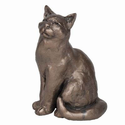 Cat Sitting Cold Cast Bronze Ornament - Ellie - Frith Sculpture