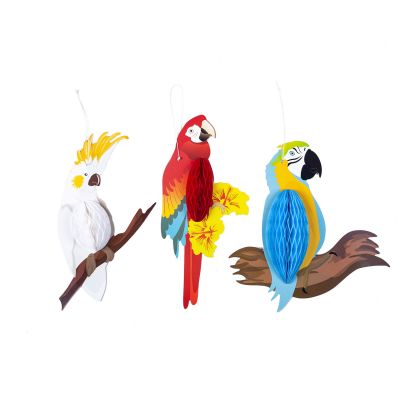 Parrot Honeycomb Decoration - Set of 3 - Clayre & Eef