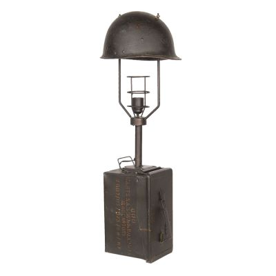 Metal Army Military Table Lamp - Black Brown - 28x23x84cm - Clayre & Eef