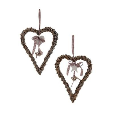 Brown Willow Hanging Heart with Bells