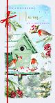 Christmas Card - Deluxe - Mum - Robins - Glitter - At Home Ling Design