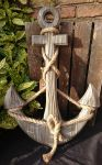 Nautical Large Wooden Grey Anchor Rope Detail
