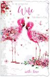 Valentine's Day Card - Large - Wife - Flamingo - Glittered - Out of the Blue