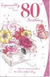 80th Birthday Card - Female - Flowers Glitter